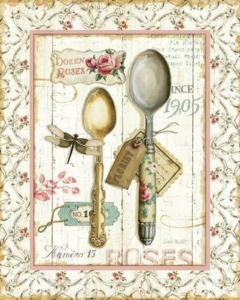 Framed Rose Garden Utensils II Print