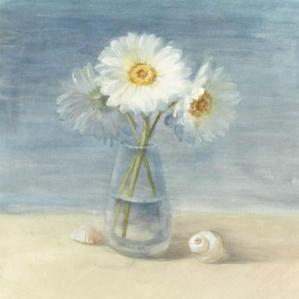 Framed Daisies and Shells Print