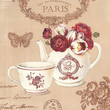 Framed Parisian Flowers II Print