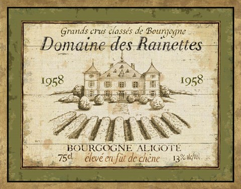 Framed French Wine Label III Print
