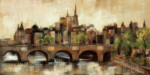 Framed Paris Bridge II Spice Print