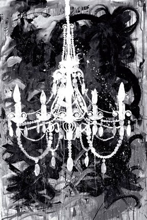 Framed Chandelier Black and White Print