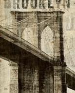 Vintage NY Brooklyn Bridge  Fine Art Print