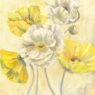 Gold and White Contemporary Poppies I Art