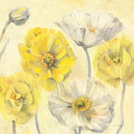 Gold and White Contemporary Poppies II Art