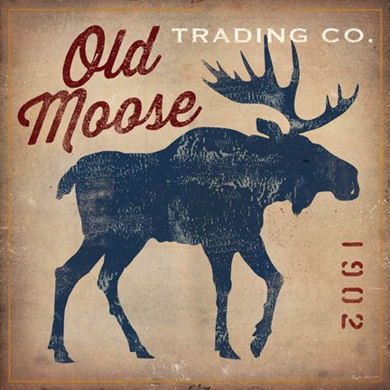 Framed Old Moose Trading Co.Tan Print