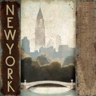 City Skyline New York Vintage Square  Fine Art Print