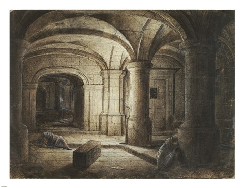 Framed Crypt of a Church with Two Men Sleeping Print