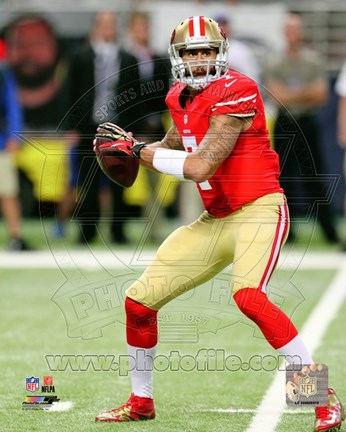 Framed Colin Kaepernick with the ball 2013 Print