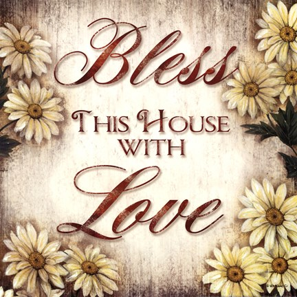 Framed Bless This House - sunflower border Print