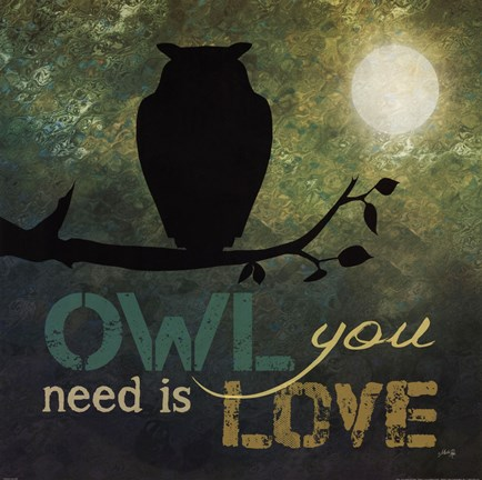 Framed Owl You Need is Love Print