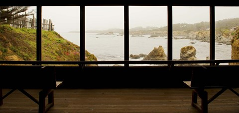 Framed Coastal viewed from a shed at Mendocino Coast Botanical Gardens, Fort Bragg, California, USA Print