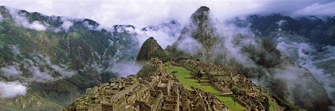 Framed High Angle View of Machu Picchu, Peru Print