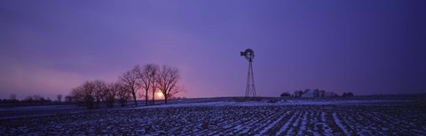Framed Windmill in a field, Illinois, USA Print