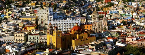 Framed High angle view of a city, Basilica of Our Lady of Guanajuato, University of Guanajuato, Guanajuato, Mexico Print