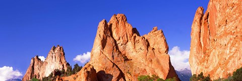 Framed Low angle view of rock formations, Garden of The Gods, Colorado Springs, Colorado, USA Print