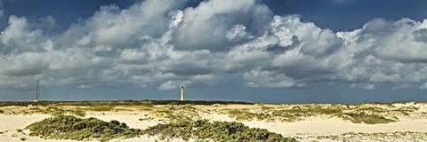 Framed Clouds over the beach with California Lighthouse in the background, Aruba Print
