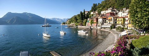 Framed Early evening view of waterfront at Varenna, Lake Como, Lombardy, Italy Print