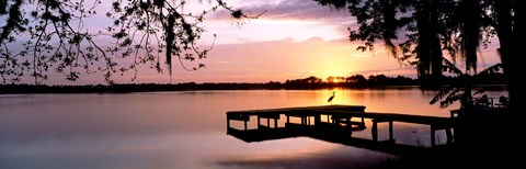 Framed Sunrise Over Lake Whippoorwill, Orlando, Florida, USA Print