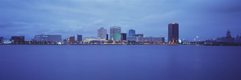 Framed Norfolk, Virginia Skyline at Night Print