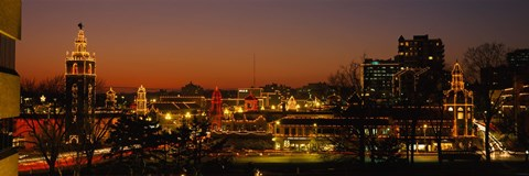 Framed Buildings lit up at night, La Giralda, Kansas City, Missouri, USA Print