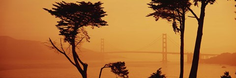 Framed Golden Gate Bridge Through the Fog Print