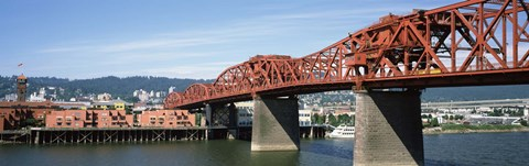 Framed Bascule bridge across a river, Broadway Bridge, Willamette River, Portland, Multnomah County, Oregon, USA Print