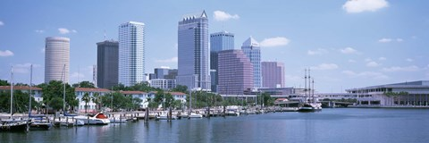Framed Skyline & Garrison Channel Marina Tampa FL USA Print