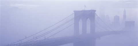 Framed Brooklyn Bridge in the fog Print