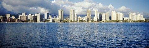 Framed Buildings at the waterfront, Honolulu Print