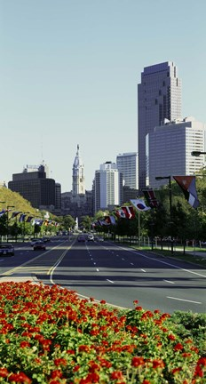 Framed Buildings in a city, Benjamin Franklin Parkway, Philadelphia, Pennsylvania, USA Print