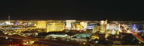 Framed High Angle View Of Buildings Lit Up At Night, Las Vegas, Nevada Print