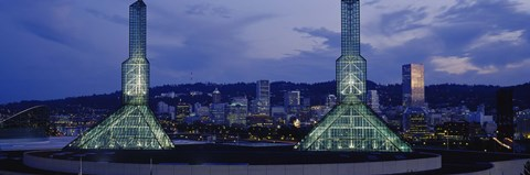 Framed Towers Lit Up At Dusk, Convention Center, Portland, Oregon, USA Print