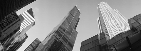 Framed Low angle view of buildings, Sears Tower, Chicago, Illinois, USA Print