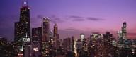 Chicago Buildings lit up at dusk Art