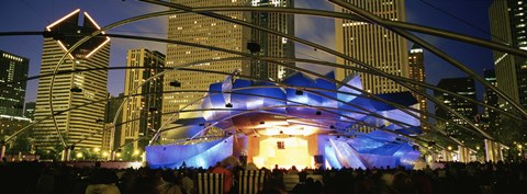 Framed USA, Illinois, Chicago, Millennium Park, Pritzker Pavilion, Spectators watching the show Print