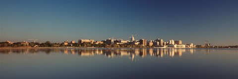 Framed USA, Wisconsin, Madison, Lake Monona, City on a waterfront Print