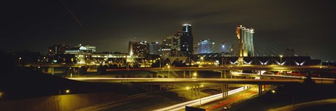 Framed Buildings Lit Up At Night, Kansas City, Missouri, USA Print