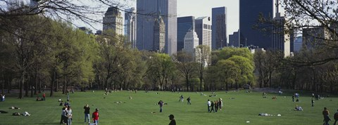 Framed Group of people in a park, Central Park, Manhattan, New York City, New York State, USA Print