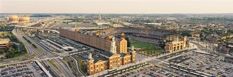 Framed Aerial view of a baseball stadium in a city, Oriole Park at Camden Yards, Baltimore, Maryland, USA Print