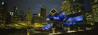 Low angle view of buildings lit up at night, Pritzker Pavilion, Millennium Park, Chicago, Illinois, USA  Fine Art Print