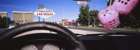 Framed Welcome sign board at a road side viewed from a car, Las Vegas, Nevada Print