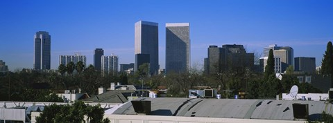 Framed Buildings and skyscrapers in a city, Century City, City of Los Angeles, California, USA Print