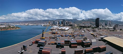 Framed Cargo containers at a harbor, Honolulu, Oahu, Hawaii, USA 2007 Print