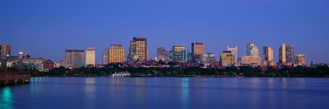 Framed Buildings at the waterfront lit up at night, Boston, Massachusetts, USA Print