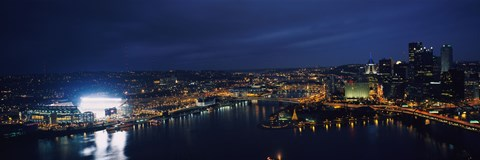 Framed High angle view of buildings lit up at night, Heinz Field, Pittsburgh, Allegheny county, Pennsylvania, USA Print