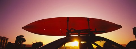 Framed Close-up of a kayak on a car roof at sunset, San Francisco, California Print