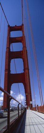 Framed Low angle view of a suspension bridge, Golden Gate Bridge, San Francisco, California, USA Print