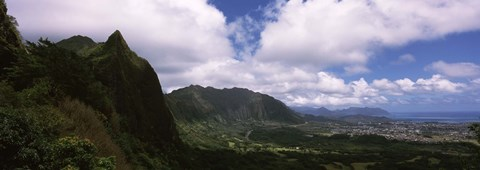 Framed Clouds over a mountain, Kaneohe, Oahu, Hawaii, USA Print