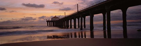 Framed Low angle view of a hut on a pier, Manhattan Beach Pier, Manhattan Beach, Los Angeles County, California, USA Print